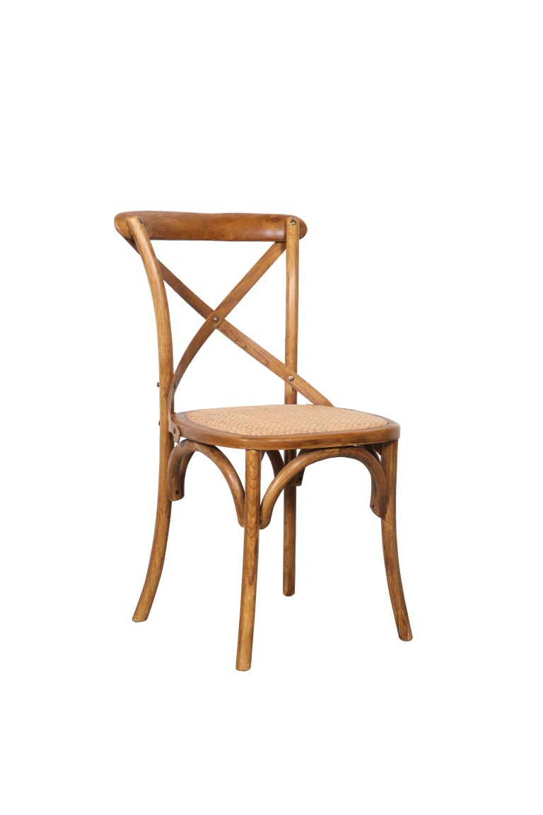Crossback Chair Rattan Teak