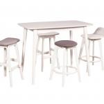 Gagnam BRKFST Table White 4 Various Stools