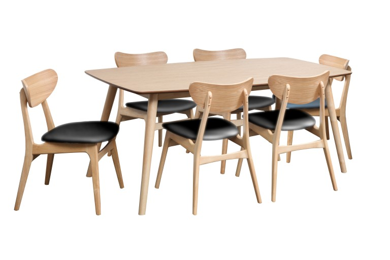 Gangnam 1800 Table + Finland Chairs Black Nat