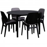 Nordic 1200 RND Table Black 4xLisbon Fabric Pewter