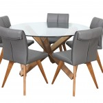 Sala 1300 RND Glass Table Teak 5xHendriks Lth Charcoal